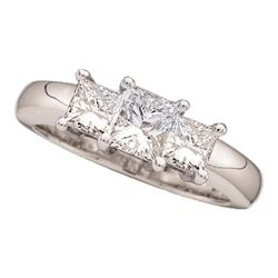 1/2 CTW Princess Diamond 3-stone Bridal Wedding Engagement Ring 14kt White Gold - REF-45H3W