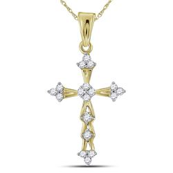 1/5 CTW Round Diamond Flared Cross Pendant 10kt Yellow Gold - REF-11A9N