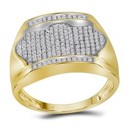 1/2 CTW Mens Round Diamond Rectangle Arched Cluster Ring 10kt Yellow Gold - REF-33X3T