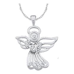 1/10 CTW Round Diamond Guardian Angel Pendant 14kt White Gold - REF-11H9W