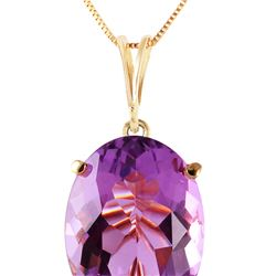 Genuine 7.55 ctw Amethyst Necklace 14KT Yellow Gold - REF-35H9X