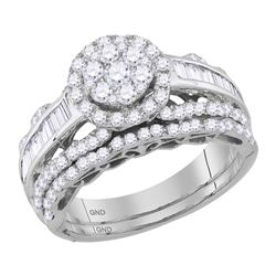 1 & 1/2 CTW Round Diamond Cluster Bridal Wedding Engagement Ring 14kt White Gold - REF-107Y9X
