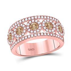 1 & 3/8 CTW Round Brown Diamond Ring 14kt Rose Gold - REF-101X9T