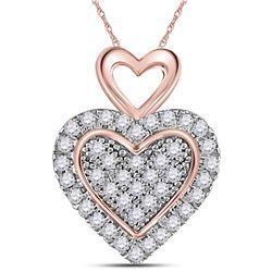 1/6 CTW Round Diamond Heart Pendant 10kt Two-tone Gold - REF-10W8F