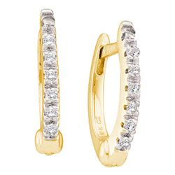 1/12 CTW Round Prong-set Diamond Single Row Hoop Earrings 10kt Yellow Gold - REF-8A4N