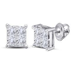 1/4 CTW Princess Diamond Square Earrings 14kt White Gold - REF-21K3R