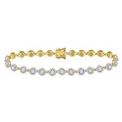 2 CTW Round Diamond Halo Cluster Tennis Bracelet 14kt Yellow Gold - REF-192X3T
