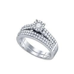 5/8 CTW Round Diamond Bridal Wedding Engagement Ring 14kt White Gold - REF-63Y3X