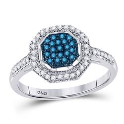 1/4 CTW Round Blue Color Enhanced Diamond Octagon Cluster Ring 10kt White Gold - REF-18H3W