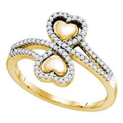 1/4 CTW Round Diamond Double Heart Bypass Ring 10kt Yellow Gold - REF-27A5N