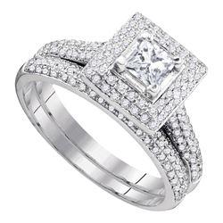 1 CTW Princess Diamond Bridal Wedding Engagement Ring 14kt White Gold - REF-93Y5X