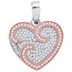1/3 CTW Round Diamond Heart Pendant 10kt Two-tone Rose Gold - REF-27F3M