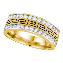 1 CTW Mens Round Diamond Double Row Grecco Greek Key Wedding Ring 14kt Yellow Gold - REF-105W5F