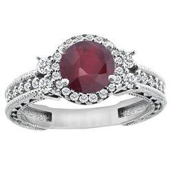 1.46 CTW Ruby & Diamond Ring 14K White Gold - REF-77F7N