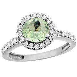 1.13 CTW Amethyst & Diamond Ring 10K White Gold - REF-54H3M