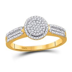 1/5 CTW Diamond Circle Frame Cluster Bridal Engagement Ring 10kt Yellow Gold - REF-15M5A