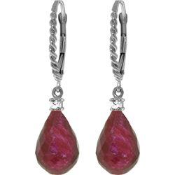 Genuine 17.7 ctw Ruby & Diamond Earrings 14KT White Gold - REF-42Y6F
