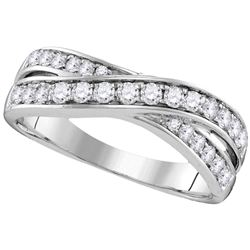 1/2 CTW Round Diamond Crossover Ring 14kt White Gold - REF-45A6N
