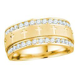 1 CTW Mens Round Diamond Grecco Cross Wedding Anniversary Ring 14kt Yellow Gold - REF-113F9M
