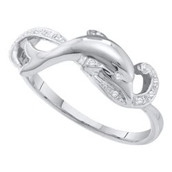 1/20 CTW Round Diamond Dolphin Ring 10kt White Gold - REF-9T6K