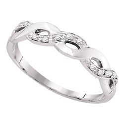 1/12 CTW Round Diamond Woven Twist Ring 10kt White Gold - REF-8M4A