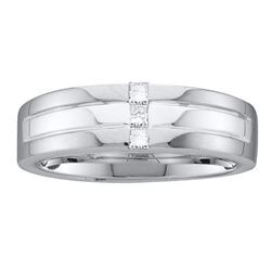 1/6 CTW Mens Princess Channel-set Diamond Single Row Wedding Ring 14kt White Gold - REF-54H3W