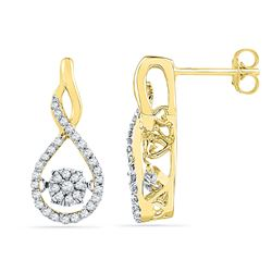1/3 CTW Round Diamond Moving Cluster Earrings 10kt Yellow Gold - REF-33Y3X