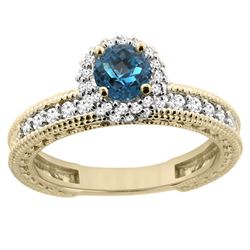 0.91 CTW London Blue Topaz & Diamond Ring 14K Yellow Gold - REF-66M2K
