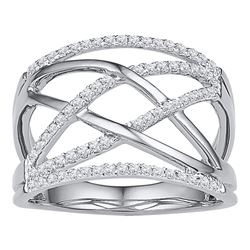 1/3 CTW Round Diamond Crisscross Crossover Ring 10kt White Gold - REF-28Y8X