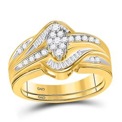 1/2 CTW Round Diamond Cluster Bridal Wedding Engagement Ring 14kt Yellow Gold - REF-57W3F