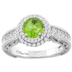 1.20 CTW Peridot & Diamond Ring 14K White Gold - REF-86N4Y