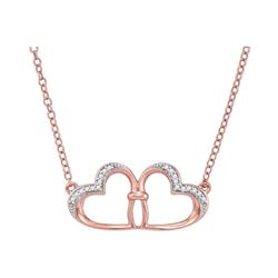 1/20 CTW Round Diamond Heart Pendant 10kt Rose Gold - REF-10F8M