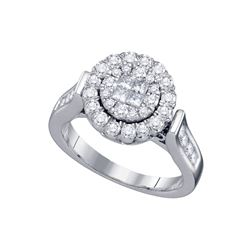 1 CTW Princess Round Diamond Bridal Wedding Engagement Ring 14kt White Gold - REF-107R9H