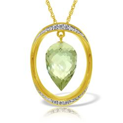 Genuine 9.6 ctw Green Amethyst & Diamond Necklace 14KT Yellow Gold - REF-109N6R