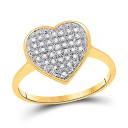 1/10 CTW Round Diamond Heart Ring 10kt Yellow Gold - REF-11M9A