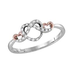 1/10 CTW Round Diamond Infinity Knot Heart Ring 10kt Two-tone White Gold - REF-14A4N