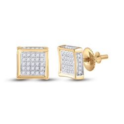 1/8 CTW Mens Round Diamond Square Earrings 10kt Yellow Gold - REF-13N2Y