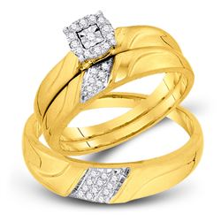 1/5 CTW His & Hers Round Diamond Solitaire Matching Bridal Wedding Ring 10kt Yellow Gold - REF-30W3F