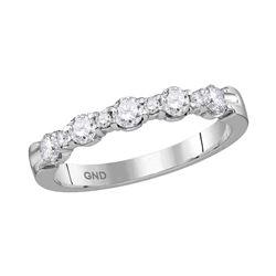 1/2 CTW Round Diamond Wedding Anniversary Ring 14kt White Gold - REF-51Y3X