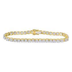 3 CTW Mens Round Diamond Cluster Fashion Bracelet 10kt Yellow Gold - REF-228F3M