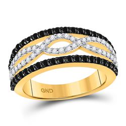 1 CTW Round Black Color Enhanced Diamond Ring 10kt Yellow Gold - REF-41M9A