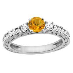 1.10 CTW Citrine & Diamond Ring 14K White Gold - REF-79F3N