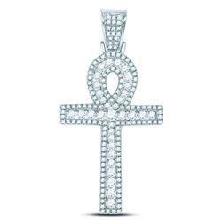 1 CTW Mens Round Diamond Ankh Cross Charm Pendant 10kt White Gold - REF-60M3A