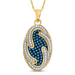 1/2 CTW Round Blue Color Enhanced Diamond Oval Wave Pendant 10kt Yellow Gold - REF-21F5M