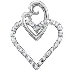 1/12 CTW Round Diamond Double Joined Heart Pendant 10kt White Gold - REF-9X3T