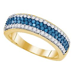 7/8 CTW Round Blue Color Enhanced Diamond Striped Ring 10kt Yellow Gold - REF-30R3H
