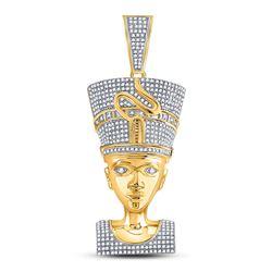 1 & 1/3 CTW Mens Round Diamond Nefertiti Pharaoh Charm Pendant 10kt Yellow Gold - REF-111N6Y