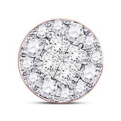 1/4 CTW Princess Round Diamond Cluster Pendant 14kt Rose Gold - REF-18M3A