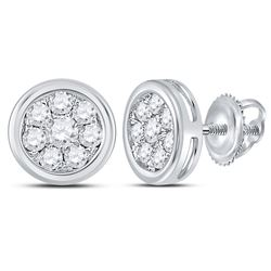 1/2 CTW Round Diamond Circle Cluster Stud Earrings 14kt White Gold - REF-35N9Y