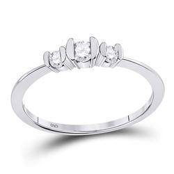 1/4 CTW Round Diamond 3-stone Bridal Wedding Engagement Ring 10kt White Gold - REF-18R3H